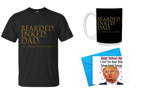 Bearded Inked Dad Mens Shirt, Mug w/ Happy Father's Day Card Bundle