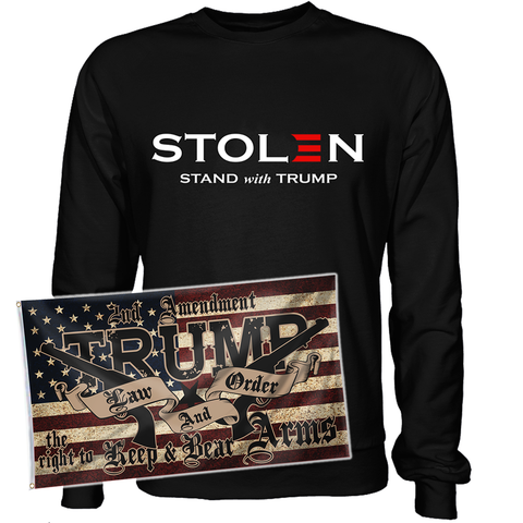Stolen Election Stand with Law and Order Flag