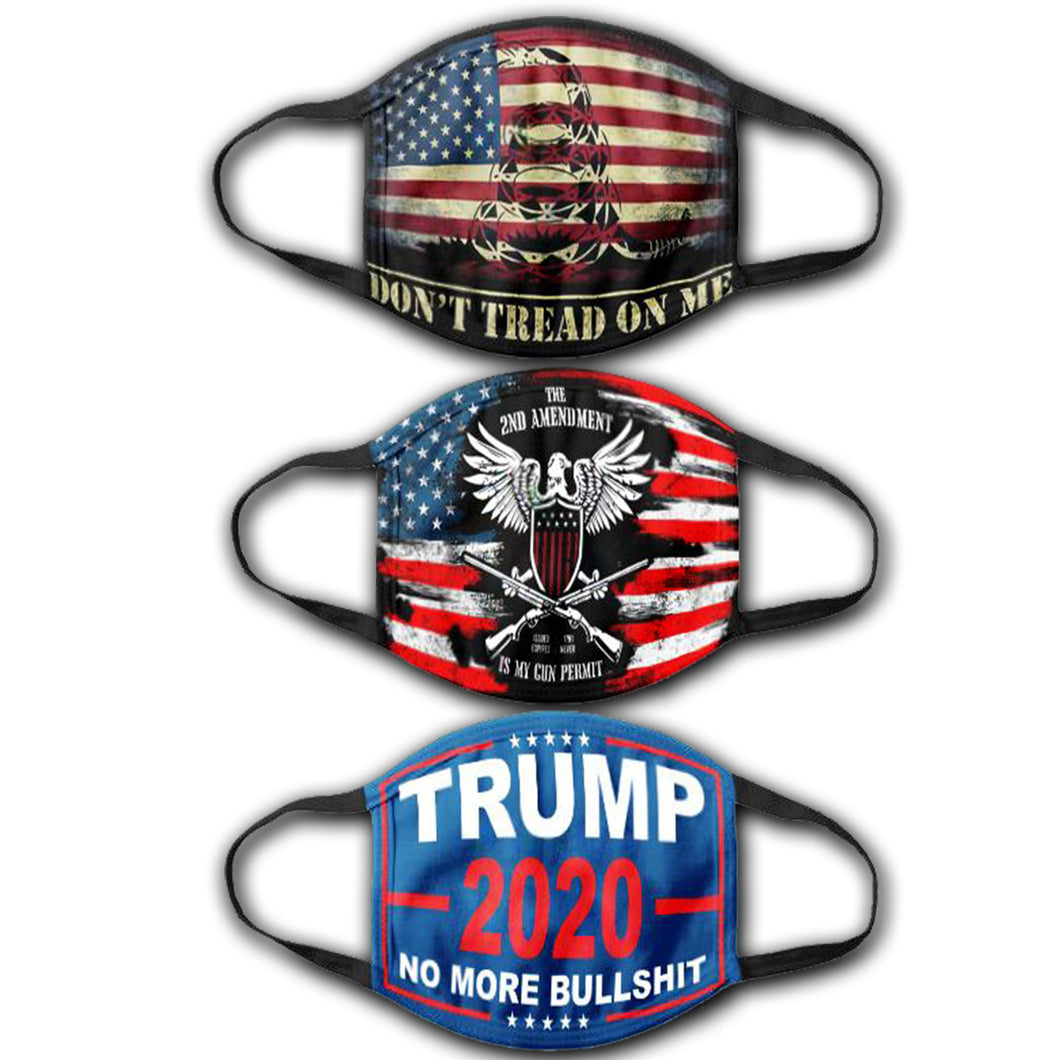 DTOM USA Flag - It's My Gun Permit  - Trump 2020 NMBS - Face Cover Bundle
