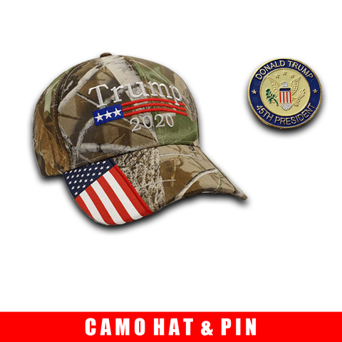 Donald Trump 2020 Hat Camo with American Flag Embroidered Mossy Oak and 45th President Trump Pin Bundle