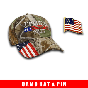 Donald Trump 2020 Hat Camo with American Flag Embroidered Mossy Oak and American Flag Pin Bundle