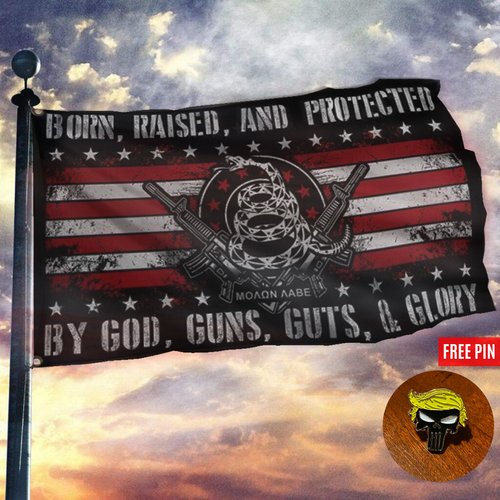 Born Raised And Protected By God Guns Guts And Glory - 2nd Amendment Flag + Trump Punisher Pin