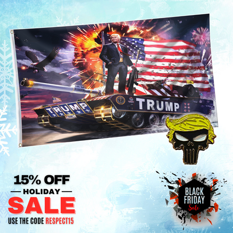 Rare Tank Trump Flag with Trump Punisher Pin