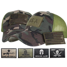 Load image into Gallery viewer, Adjustable Operator Digital Truckers Cap + 5 Pcs 2A Flag Embroidered Tactical Patch Bundle