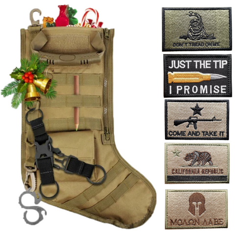 Tactical Christmas Stocking + 5 Pcs Patriotic Embroidered Tactical Clothing Patch