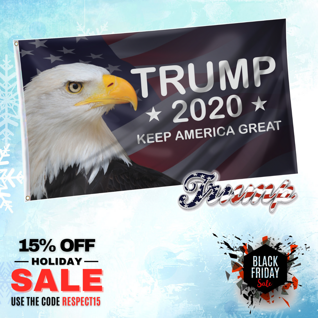 Trump 2020 KAG American Eagle Flag with Trump American Flag Pin