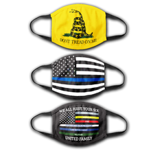 Load image into Gallery viewer, Thin Blue Line Flag - We All Have Your Six Flag- Dont Tread on Me Flag - Face Cover Bundle