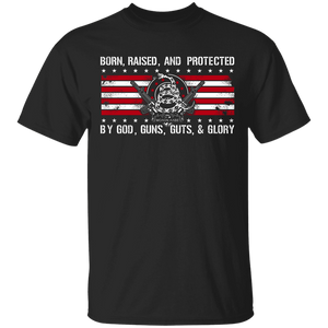 2nd Amendment - Born Raised and Protected Flag and Shirt Combo
