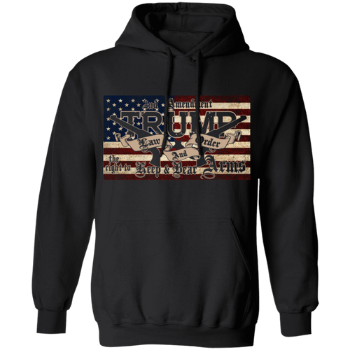 TRUMP 2020 LAW and ORDER 2nd AMENDMENT GUNS Pullover Hoodie 8 oz.