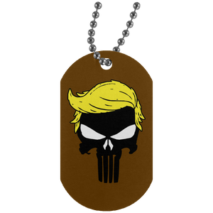 Trump Punisher Skull Dog Tag Necklace