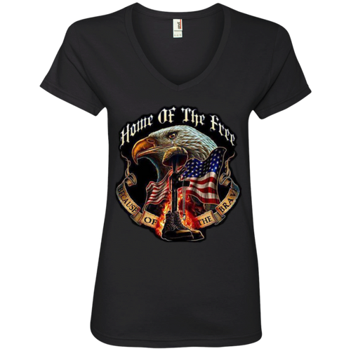 Home of the Free Because of the Brave - Memorial day Womens T- shirt