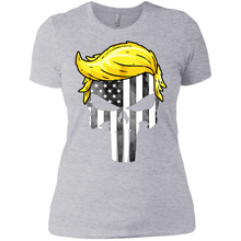 Load image into Gallery viewer, Trump Punisher American Flag Black & White Boyfriend T-Shirt