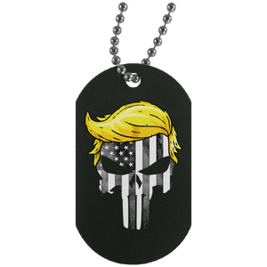 Trump Punisher Black and White Dog Tag Necklace