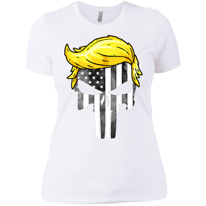 Trump Punisher American Flag Black & White Boyfriend T-Shirt