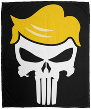 Load image into Gallery viewer, Punisher Trump Fleece Blanket 50x60 + FREE TRUMP PUNISHER 3x5 SINGLE REVERSE FLAG