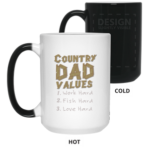 Country Dad Work Hard Fish Hard Love Hard Father's Day Color Changing Mug