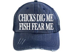 Chicks Dig me Fish Fear Me Trucker Hat