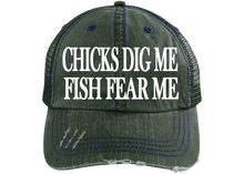 Load image into Gallery viewer, Chicks Dig me Fish Fear Me Trucker Hat