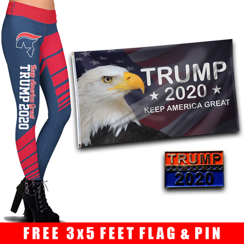 Pre-Release Limited Edition Trump 2020 KAG - Leggings - USA Colorway + KAG Eagle Flag and Trump 2020 Pin