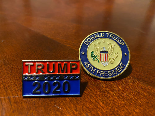 2pc Trump Pins Combo Deal - 45th President & Trump 2020 Pin