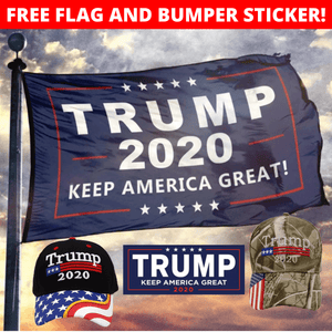 Trump 2020 Flag Bill USA Flag Hat and Trump 2020 Mossy Oak Camo Hat + Free Rally Flag and Sticker Combo Deal