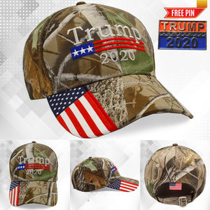 Donald Trump 2020 Hat Camo with American Flag Plus Free Pin