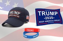 Load image into Gallery viewer, Trump Keep America Great 2020 Hat Trump 2020 Flag w/ Free Silicone Bracelet