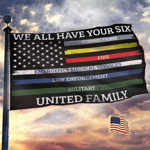 We All Have Your Six United Family - USA Flag + American Flag Lapel Pin - Flag Bundle