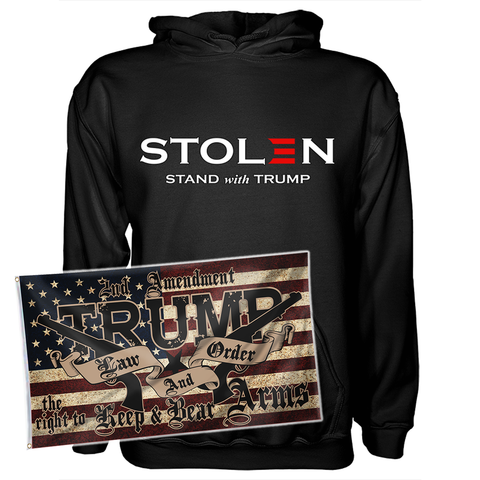 Stolen Election Stand Hoodie and Law and Order Flag