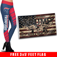 Load image into Gallery viewer, Pre-Release Limited Edition Trump 2020 KAG - Leggings - USA Colorway + 3x5 Trump Law and Order Flag