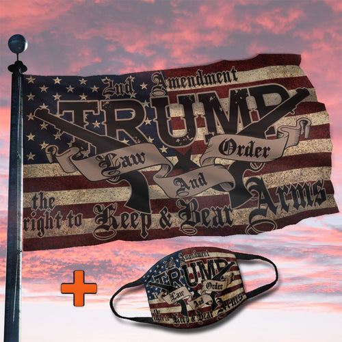 TRUMP 2020 LAW & ORDER 2nd AMENDMENT GUNS FLAG (NEW BUNDLE)