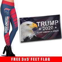 Load image into Gallery viewer, Pre-Release Limited Edition Trump 2020 KAG - Leggings - USA Colorway + 3x5 Keep America Great Eagle Flag