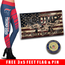 Load image into Gallery viewer, Pre-Release Limited Edition Trump 2020 KAG - Leggings - USA Colorway + Trump LNO Flag and 45th President Trump Pin
