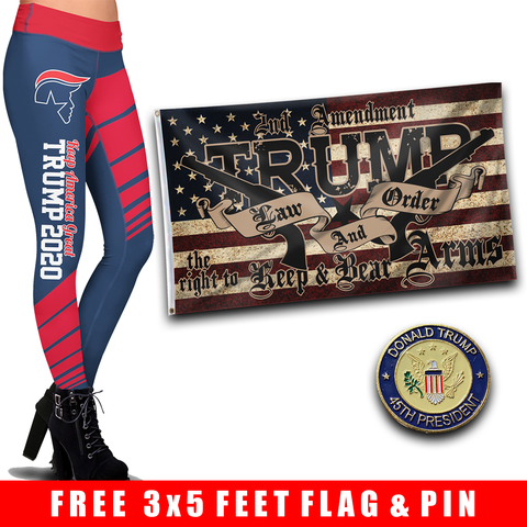 Pre-Release Limited Edition Trump 2020 KAG - Leggings - USA Colorway + Trump LNO Flag and 45th President Trump Pin