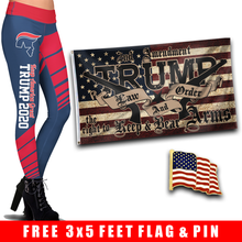 Load image into Gallery viewer, Pre-Release Limited Edition Trump 2020 KAG - Leggings - USA Colorway + Trump LNO Flag and American Flag Lapel Pin
