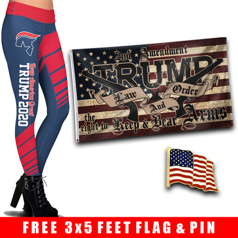 Pre-Release Limited Edition Trump 2020 KAG - Leggings - USA Colorway + Trump LNO Flag and American Flag Lapel Pin