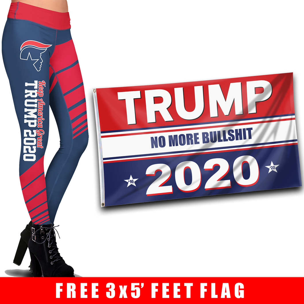 Pre-Release Limited Edition Trump 2020 KAG - Leggings - USA Colorway + 3x5 Trump No More Bullsh*t Flag