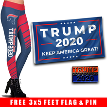 Load image into Gallery viewer, Pre-Release Limited Edition Trump 2020 KAG - Leggings - USA Colorway + 3x5 Keep America Great Flag + Trump 2020 Pin