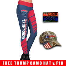 Load image into Gallery viewer, Pre-Release Limited Edition Trump 2020 KAG - Leggings - USA Colorway + Trump 2020 Pin and Trump Camo Hat