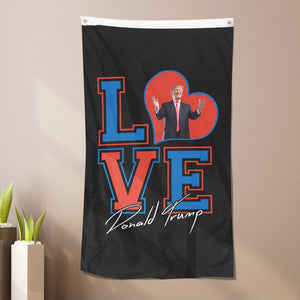 I Love Trump Sherpa Blanket 50x60 - Red Blue + Free Matching 3x5 Single Reverse Flag