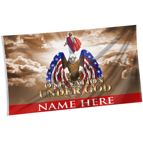 Personalized One Nation Under God Family Flag