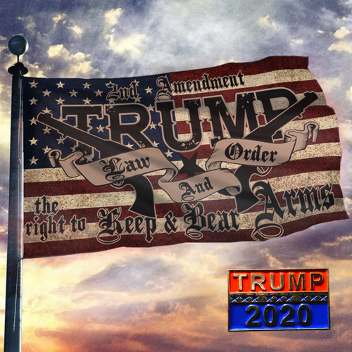 TRUMP 2020 LAW & ORDER 2nd AMENDMENT GUNS FLAG + TRUMP 2020 Pin