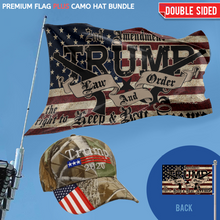 Load image into Gallery viewer, TRUMP EXCLUSIVE BUNDLE - PREMIUM DOUBLE-SIDED LAW AND ORDER FLAG + TRUMP CAMO HAT COMBO