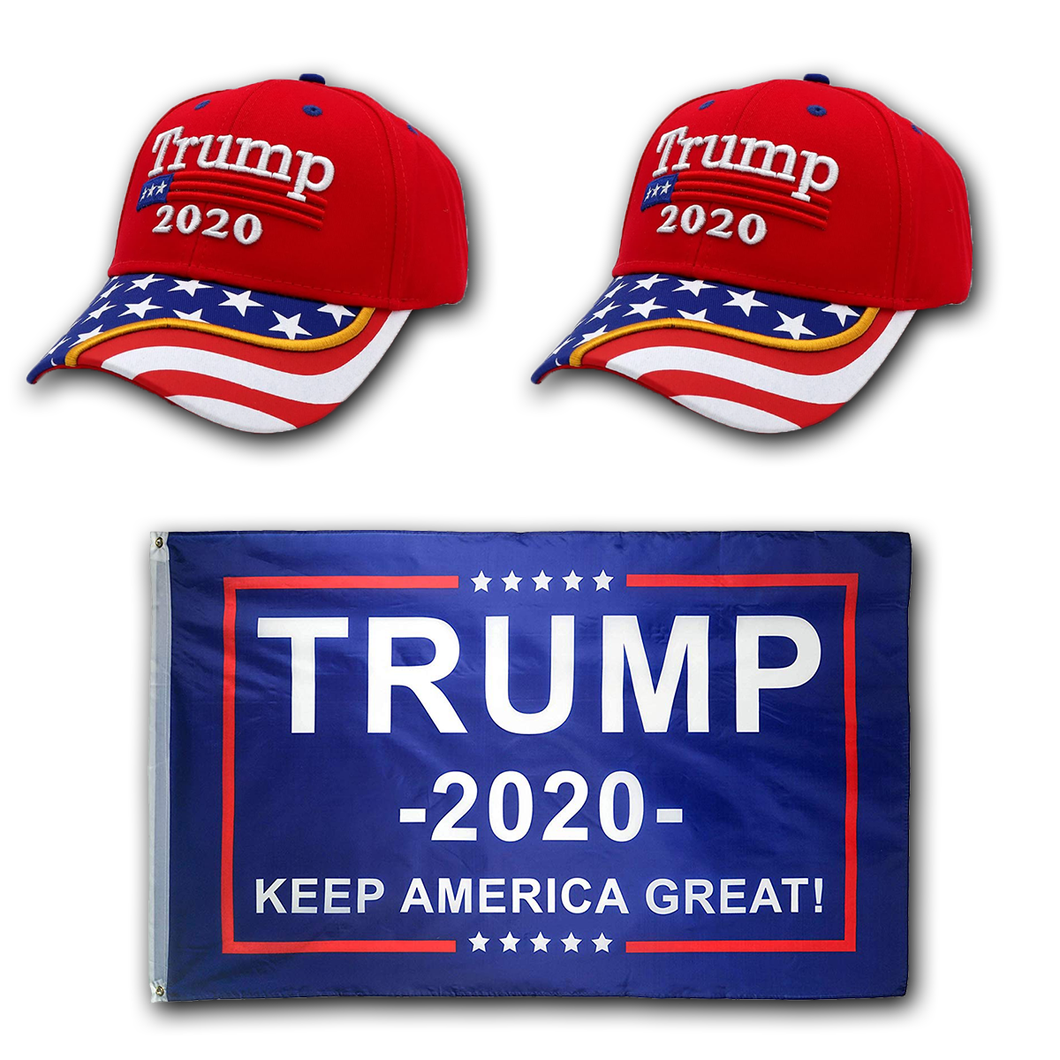 Trump 2020 2 Red Flag Bill  Hat - 2 Trump Hat + FREE Trump2020 Keep America Great Rally Flag Combo Deal