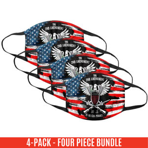 It's My Gun Permit - 2nd Amendment Flag Face Cover - 4 Pack Bundle