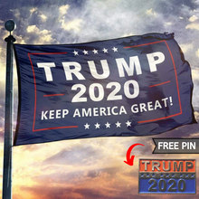 Load image into Gallery viewer, Trump Flags - Trump 2020 Flag + FREE Trump 2020 Pin