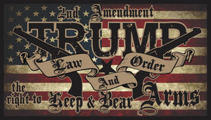 TRUMP 2020 LAW & ORDER 2nd AMENDMENT GUNS 4x6 and 5x8 FLAG