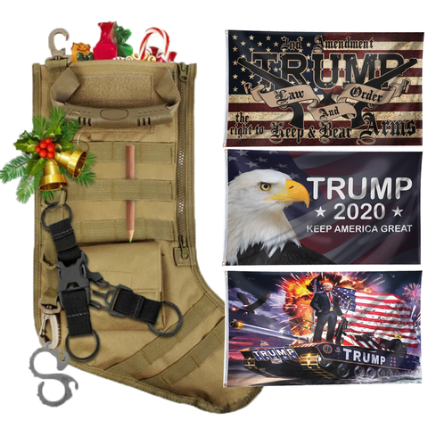 Christmas Tactical Stockings with Three 3x5' Flags - Bundle D