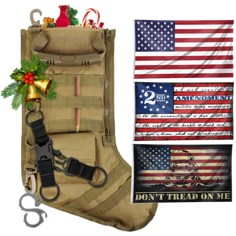 Christmas Tactical Stockings with Three 3x5' Flags - Bundle C