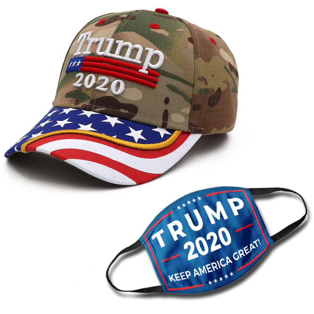 Trump 2020 Camo Flag Bill Hat - USA Flag Trump Hat (NEW BUNDLE)